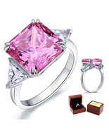 8 Ct Princess Pink Man Made Diamond Wedding Anniversary Ring 925 Sterlin... - $115.99