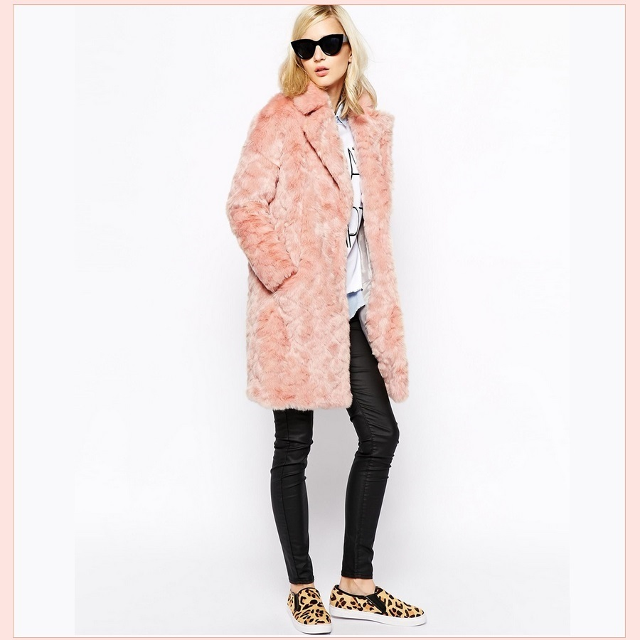 Luxury Pink Rex Rabbit Retro Lapel Medium Length Trench Faux Fur Coat