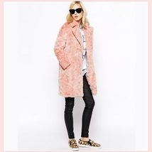 Luxury Pink Rex Rabbit Retro Lapel Medium Length Trench Faux Fur Coat