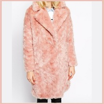 Luxury Pink Rex Rabbit Retro Lapel Medium Length Trench Faux Fur Coat image 2