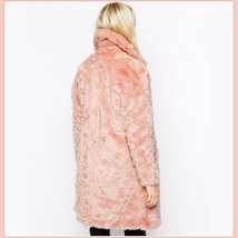 Luxury Pink Rex Rabbit Retro Lapel Medium Length Trench Faux Fur Coat image 3