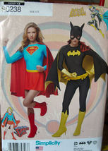 Pattern 0238 sizes 6-14 Super Girl or Bat Girl Adult Costumes  - $6.99
