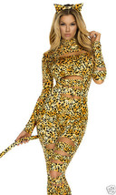 Sexy Forplay Sinful Kitty Cheetah Catsuit Jumpsuit Costume 2pc - $54.99