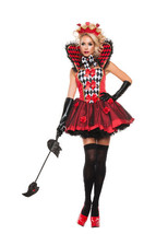 Sexy Starline Queen Of Roses Dress Woman's 3pc Red & Black Costume Set #... - $61.99