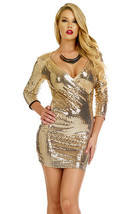 Forplay Clubwear Devnya Metallic Gold Sequin 3/4 Sleeve Mini Dress - $45.99