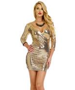 Forplay Clubwear Devnya Metallic Gold Sequin 3/4 Sleeve Mini Dress - $45.99