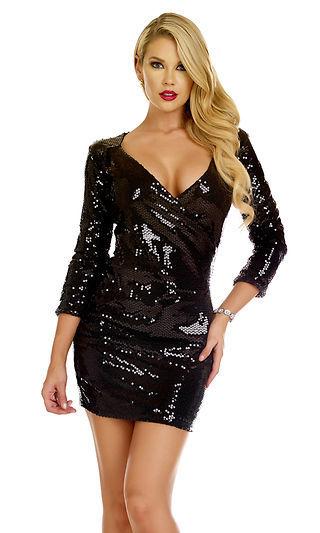 Forplay Clubwear Trapani Black Sequin 3/4 Sleeve Mini Dress