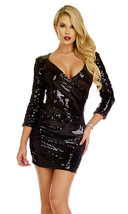 Forplay Clubwear Trapani Black Sequin 3/4 Sleeve Mini Dress - $44.99
