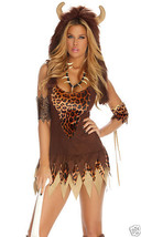 Sexy Forplay Queen Of The Cave Cavewoman Jagged Hem Dress Costume 4pc - $54.99