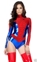 Forplay Sexy Sensible Seductress Spiderman Web Bodysuit Red Blue Costume 555156 - $52.99