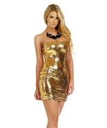 Forplay Clubwear Elena Metallic Gold Sequin Strapless Mini Dress - $38.99