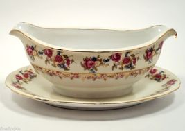 GOLD CASTLE Hostess Gravy Boat Attached Underplate Japan 1940 - $49.99