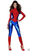 Forplay Sexy Perfect Sense Spiderman Catsuit Jumpsuit Red & Blue Costume 555107 - $54.99