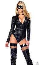 Forplay Sexy Black Hologram Zipfront Bodysuit Costume - $46.99