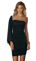 Forplay Clubwear Andria One Shoulder Black Mini Dress - $18.99