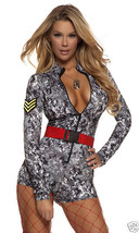 Forplay Sexy Digi Camo Sultry Salute Military Soldier Bodysuit Uniform Costume - $52.99