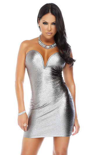 Forplay Slither Strapless Snakeskin Textured Metallic Gunmetal Mini Dress