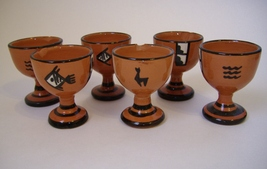 Egg Cups Peru Set of 6 Vintage Clay Pottery Brown Fish Llama Aztec Colle... - $48.00