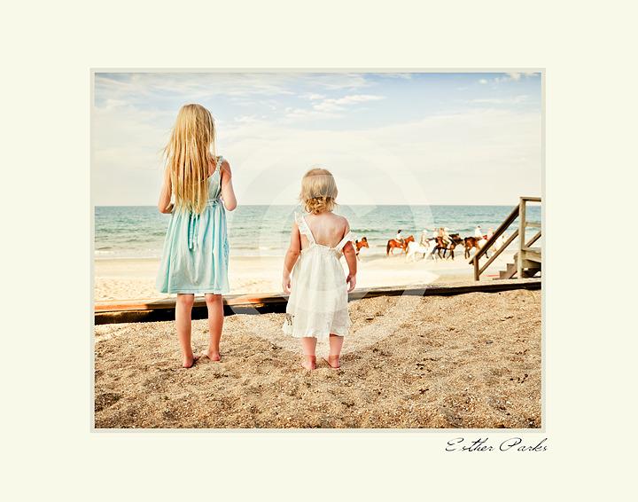 'Child Wonder' (children on beach w/ horses) Fine Art Print- 8x10 matted to11x14