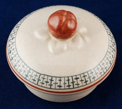 Orphan Lid Round Pottery Ceramic Beige w Geometric Pattern Red/Brown Finial - $5.00