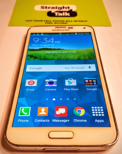 Unlocked White Straight Talk Phone Samsung Galaxy S5 16GB 4G LTE Verizon Towers