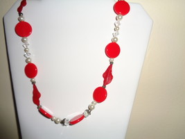 Artisan Crafted Red & White Beaded Necklace - $7.99