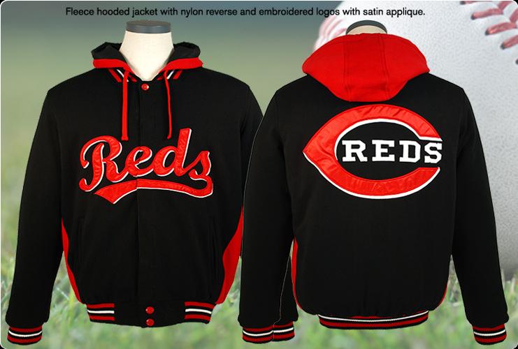 Cincinnati reds fleece jacket rds 933 hod3 blk red