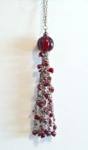 "Christmas Ornaments Shabby Cottage Chic Beaded Red Globe Tassel Dangle 8"" - $4.50"
