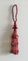Christmas Bead Ornaments Dangle Tassel Red - $4.50