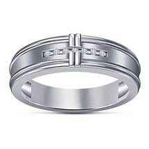 Round Cut White Simulated Diamond Platinum Plated 925 Sterling Silver Band Ring - £43.70 GBP