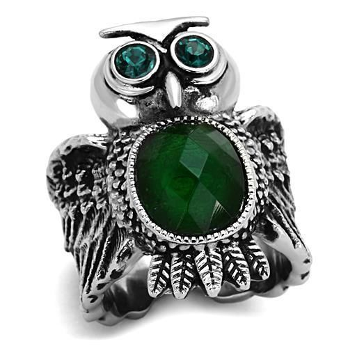 Primary image for Women's 12,10 MM Oval Emerald Synthetic Glass Animal Owl Ring, Size 5-9