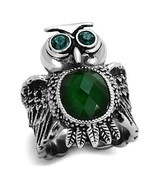 Women's 12,10 MM Oval Emerald Synthetic Glass Animal Owl Ring, Size 5-9 - $577,13 MXN