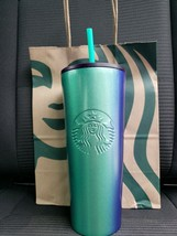 Starbucks Teal & Blue Ombre 24 oz Summer 2020 Stainless Steel Tumbler BR... - $38.61
