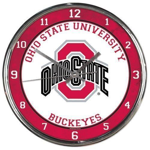 "OHIO STATE BUCKEYES CHROME SILVER 12"" ROUND QUARTZ WALL CLOCK NCAA MAN CAVE!"