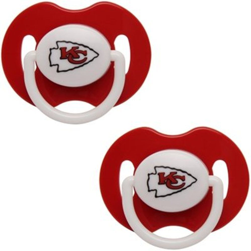 KANSAS CITY CHIEFS 2-PACK BABY INFANT ORTHODONTIC PACIFIER SET NFL FOOTBALL