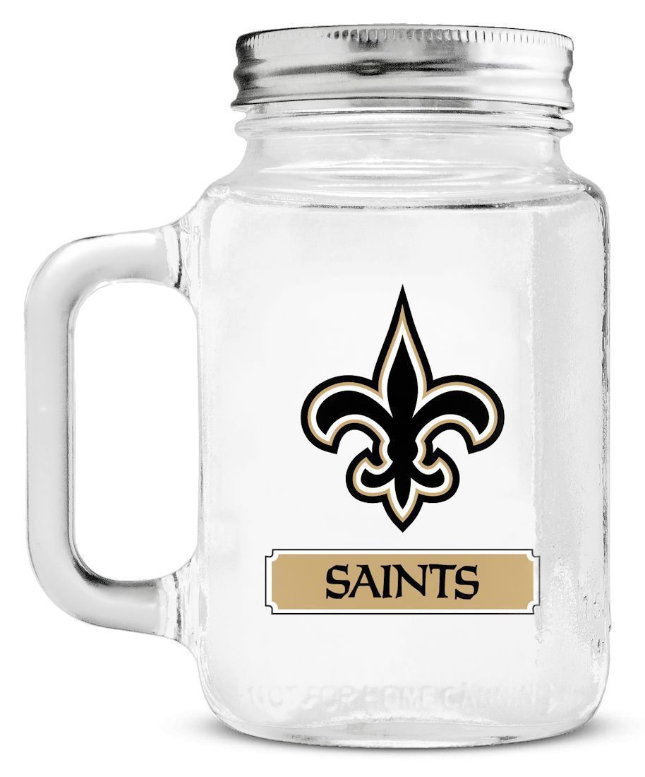 NEW ORLEANS SAINTS GLASS MASON JAR MUG WITH LID 20 OZ. TEAM LOGO NFL FOOTBALL