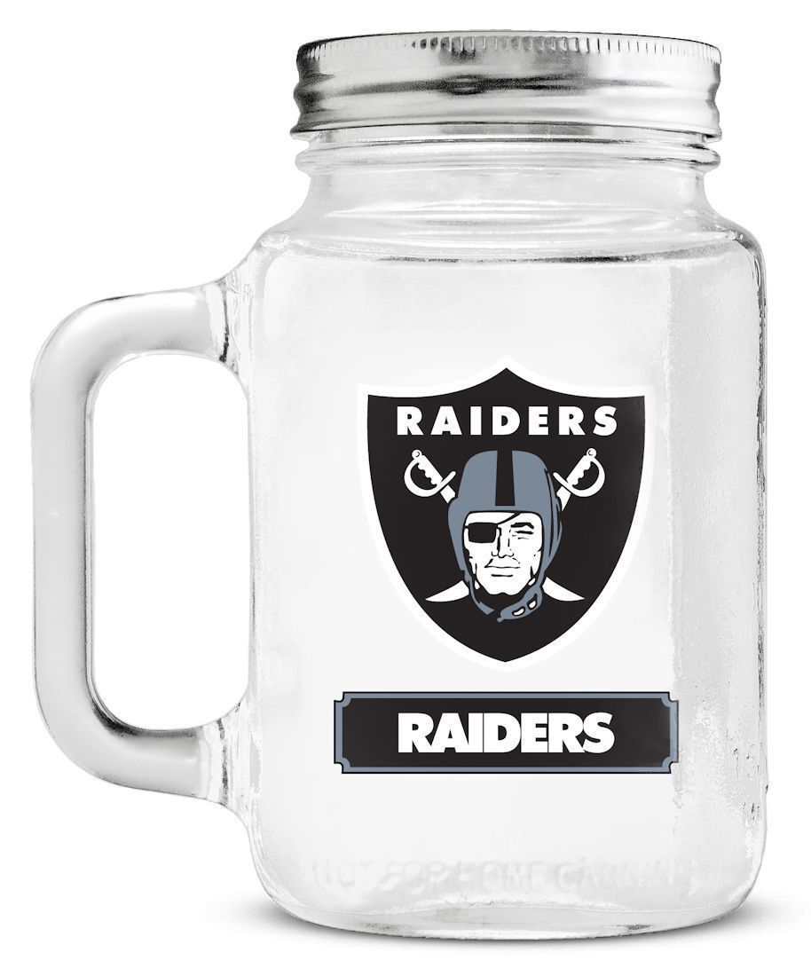 OAKLAND RAIDERS GLASS MASON JAR MUG WITH LID 20 OZ. TEAM LOGO NFL FOOTBALL
