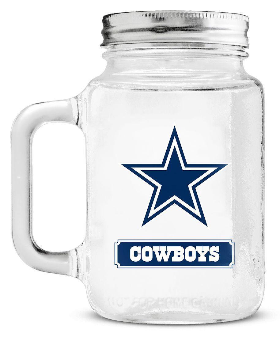 DALLAS COWBOYS  GLASS MASON JAR MUG WITH LID 20 OZ. TEAM LOGO NFL FOOTBALL