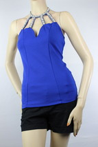 Pearl Neckline Halter Sexy BLOUSE Shirts Stretch Dinner Clubwear Solid T... - $19.99