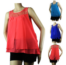 Crochet Chiffon Open Slit Tank Top BLOUSE Layer Casual Dinner Party Sexy... - $19.99