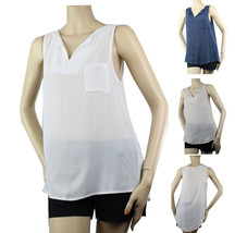 V- Neck Collar Layering Sexy Tank Top Blouse 1 Pocket Comfy Casual Trend... - $18.99