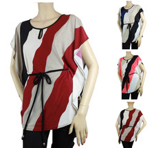 Women Tilt Striped Wide Side Trim Blouse Stretchy Work Trip's Casual Shi... - $22.99