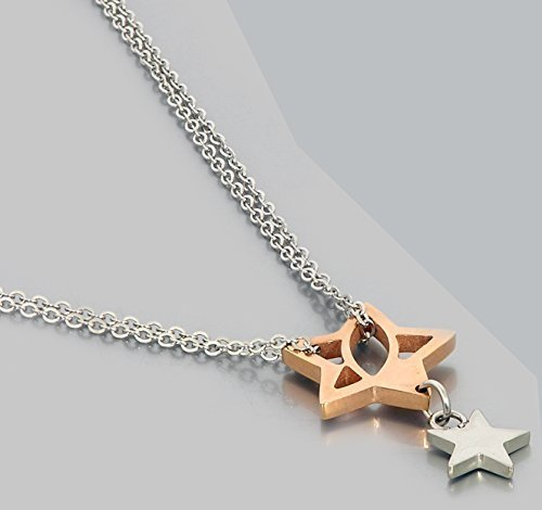 Star Necklace Rhodium Plated Silver & Gold Stars Charm Pendant - Classic Gift