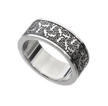 Keith haring Style Men Unisex Ring Silver Tribal Stainless steel - Gift ... - $51.22