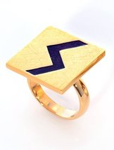 Statement Handmade Women Square Ring Lightning Zigzag Gold Plated Unique... - $62.24
