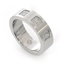 Beautiful Handmade JenniferLove Silver Ring Stainless Steel 12 Crystal C... - $66.98
