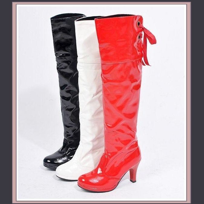 Knee High Wet Look Glossy PU Leather 3 inch Heel Fashion Boots - Red White Black