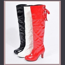 Knee High Wet Look Glossy PU Leather 3 inch Heel Fashion Boots - Red Whi... - ₨8,340.49 INR