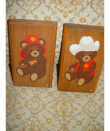 Fireman Bear and Sheriff  Bear Wood Wall Plaques Set of 2 - $17.00