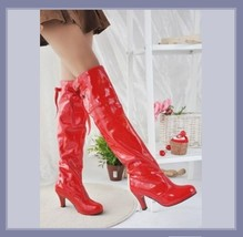 Knee High Wet Look Glossy PU Leather 3 inch Heel Fashion Boots - Red White Black image 3